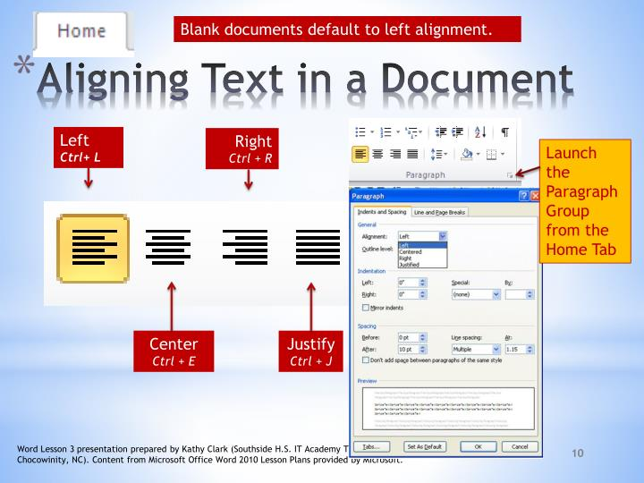 Blank documents default to left alignment.