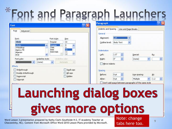 Font and Paragraph Launchers