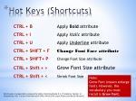 hot keys shortcuts