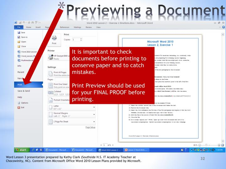 It is important to check documents before printing to conserve paper and to catch mistakes.