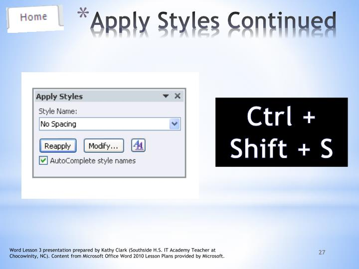 Apply Styles Continued