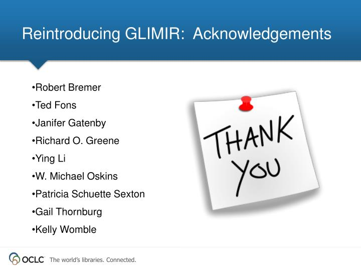 Reintroducing GLIMIR:  Acknowledgements