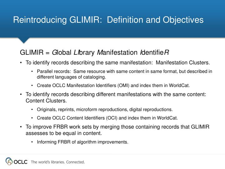 Reintroducing glimir definition and objectives