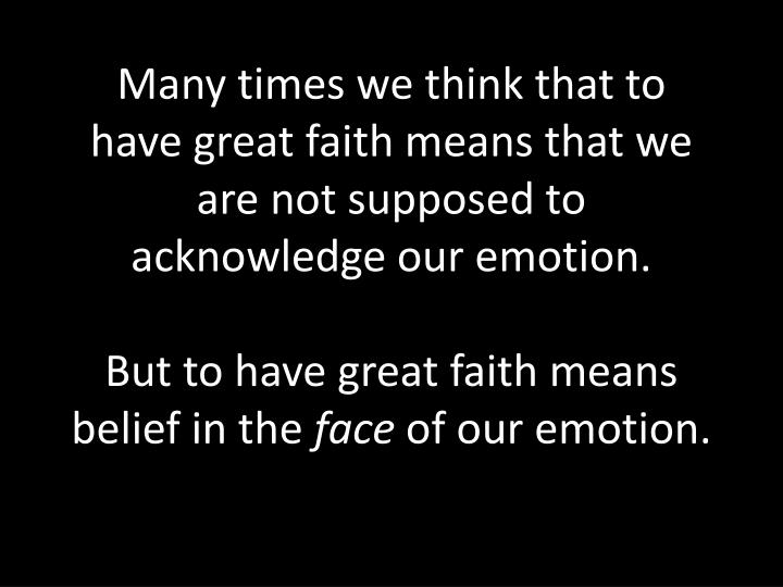 Many times we think that to have great faith means that we are not supposed to acknowledge our emotion.