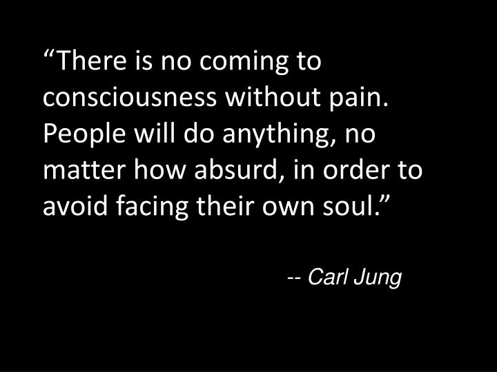 """There is no coming to consciousness without pain. People will do anything, no matter how absurd, in order to avoid facing their own soul."""