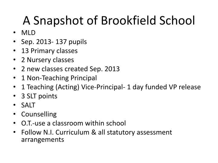 A Snapshot of Brookfield School