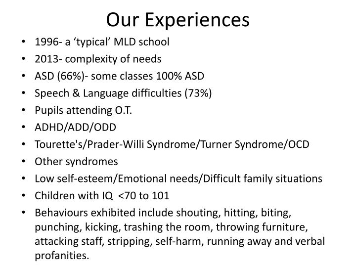 Our Experiences