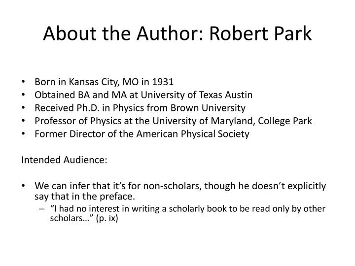 About the Author: Robert Park