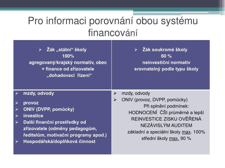 Pro informaci porovnání obou systému financov