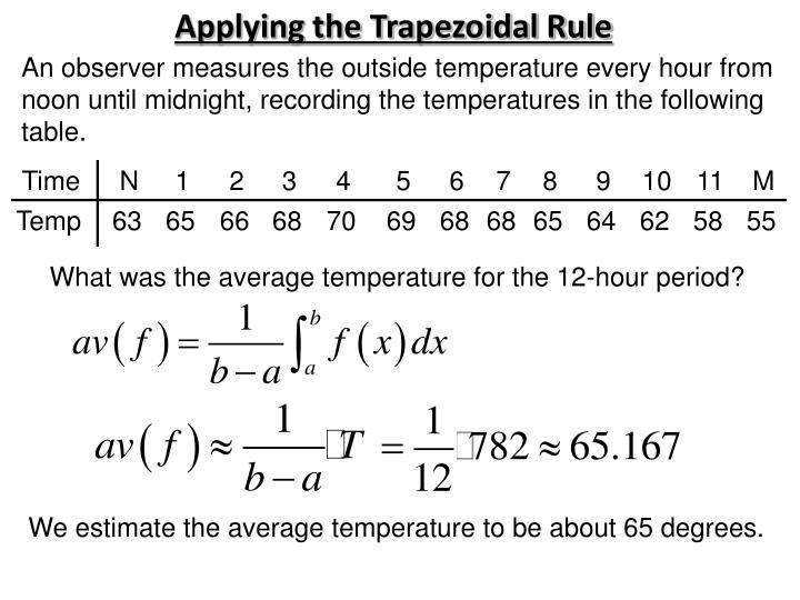 Applying the Trapezoidal Rule