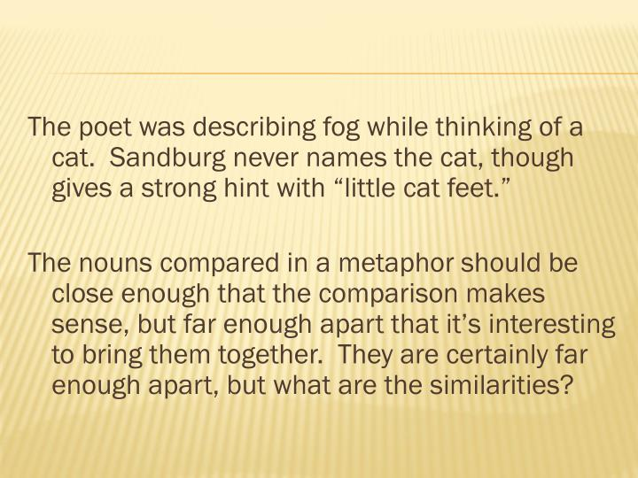 "The poet was describing fog while thinking of a cat.  Sandburg never names the cat, though gives a strong hint with ""little cat feet."""