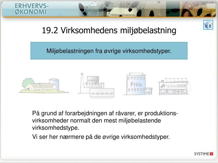 19.2 Virksomhedens miljøbelastning