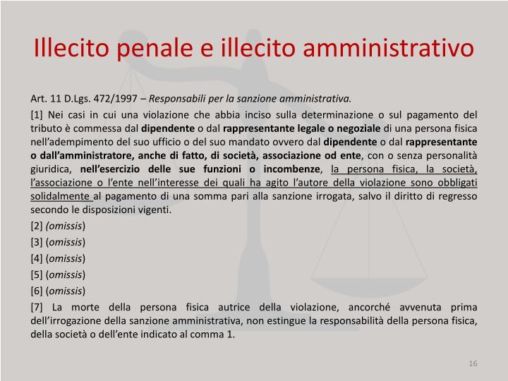 Illecito penale e illecito amministrativo