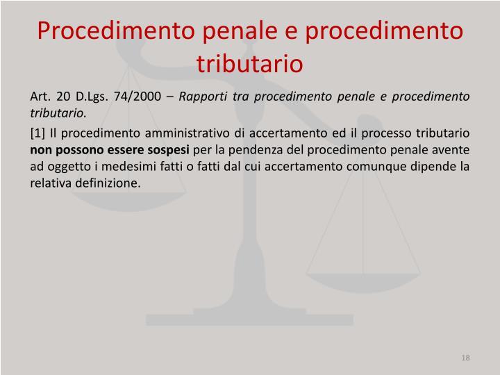 Procedimento penale e procedimento tributario