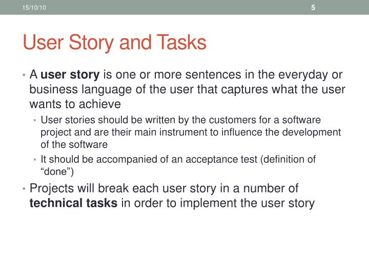 User Story and Tasks