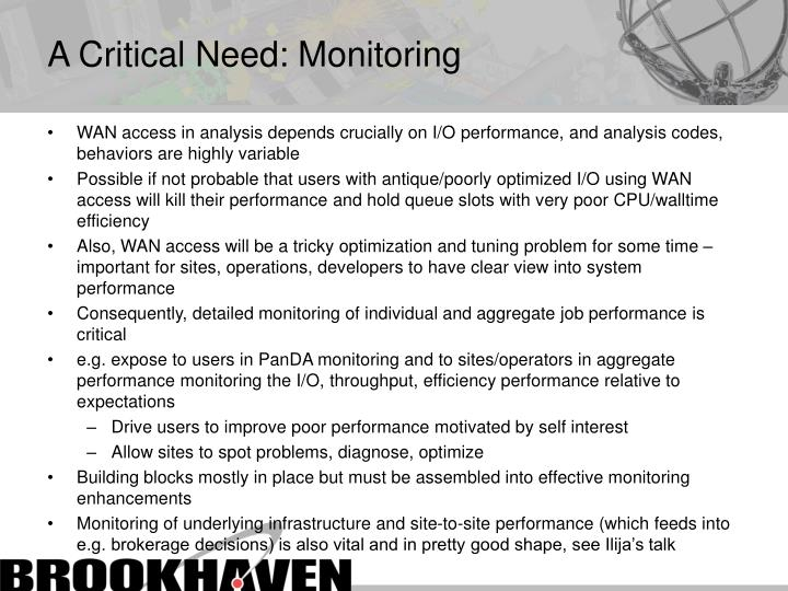 A Critical Need: Monitoring