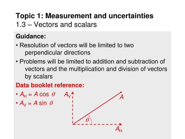 Topic 1 measurement and uncertainties 1 3 vectors and scalars2
