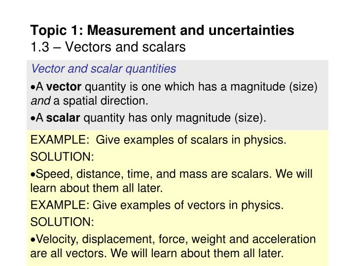 Vector and scalar quantities