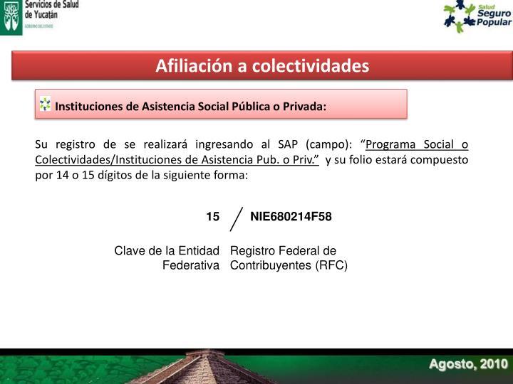 Afiliación a colectividades