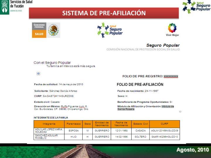 SISTEMA DE PRE-AFILIACIÓN