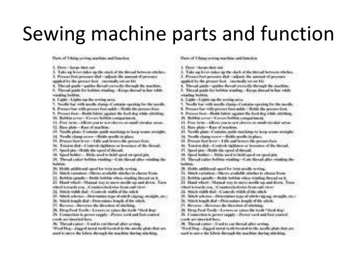 Sewing machine parts and function