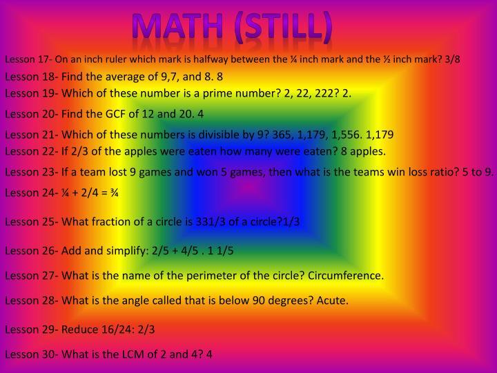 Math (still)