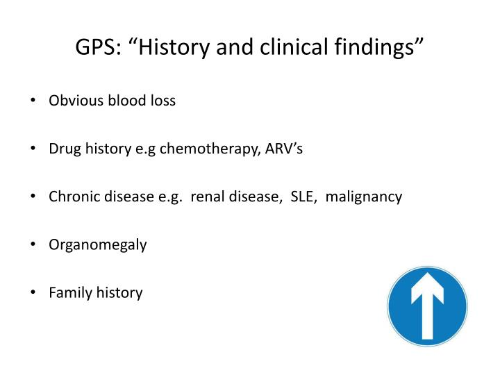 "GPS: ""History and clinical findings"""