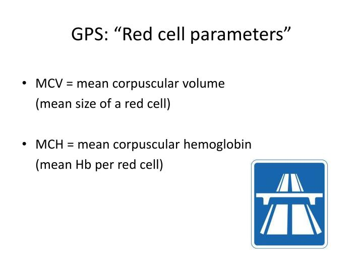"GPS: ""Red cell parameters"""
