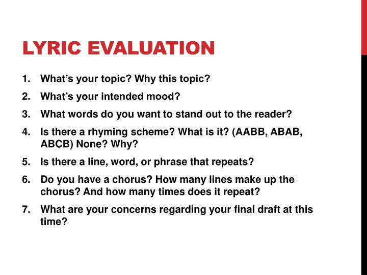Lyric Evaluation