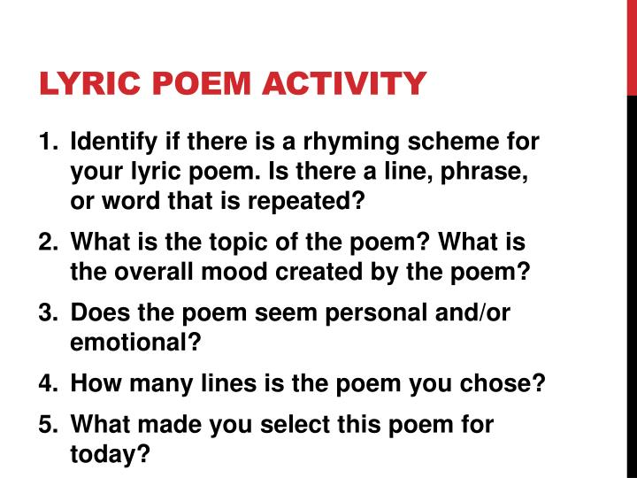 Lyric poem activity