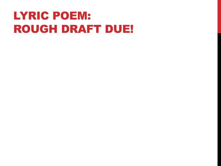 Lyric Poem: