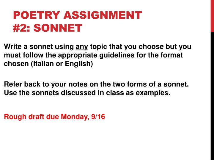 Poetry Assignment #2: Sonnet