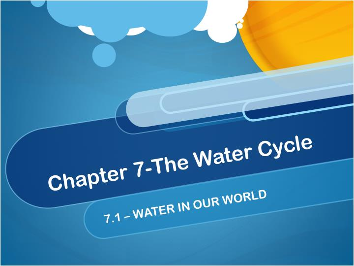 Chapter 7-The Water Cycle