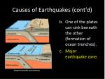 causes of earthquakes cont d