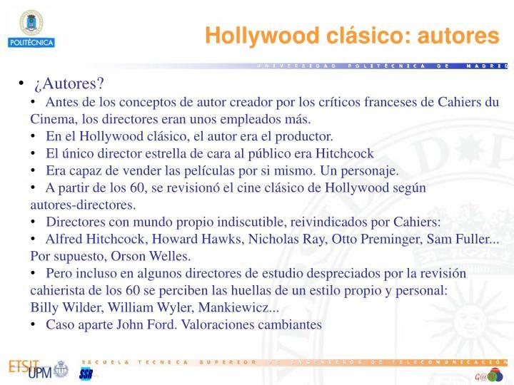 Hollywood clásico: autores