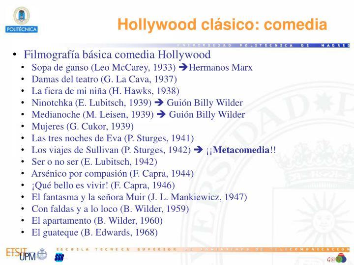 Hollywood clásico: comedia
