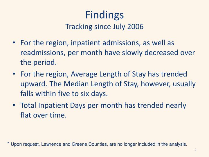 Findings tracking since july 2006