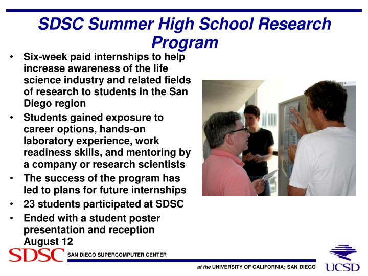 SDSC Summer High School Research Program