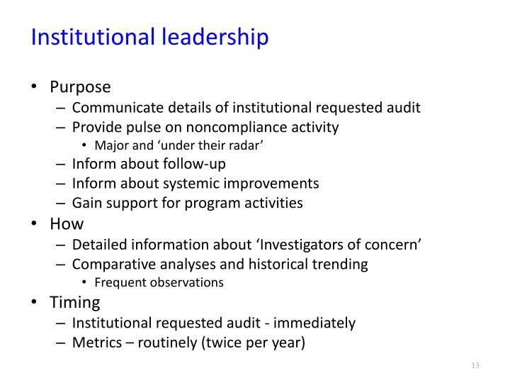 Institutional leadership