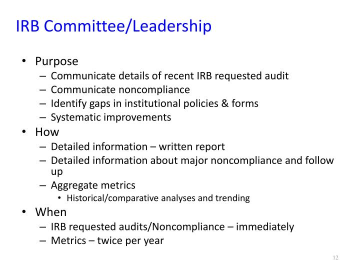 IRB Committee/Leadership