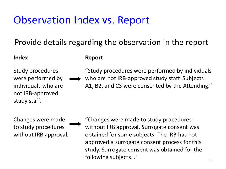 Observation Index vs. Report