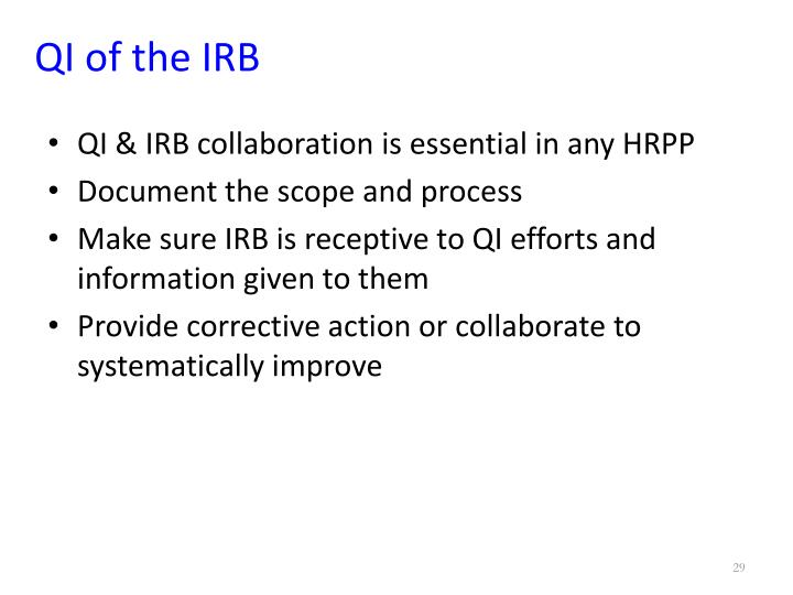 QI of the IRB