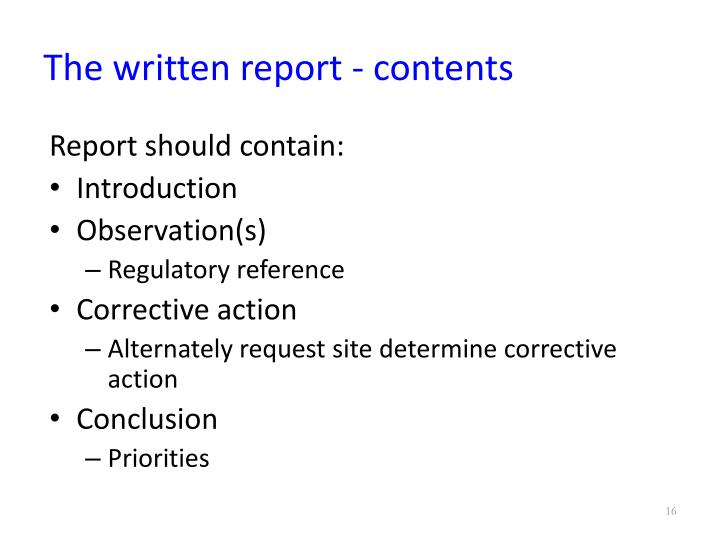 The written report - contents