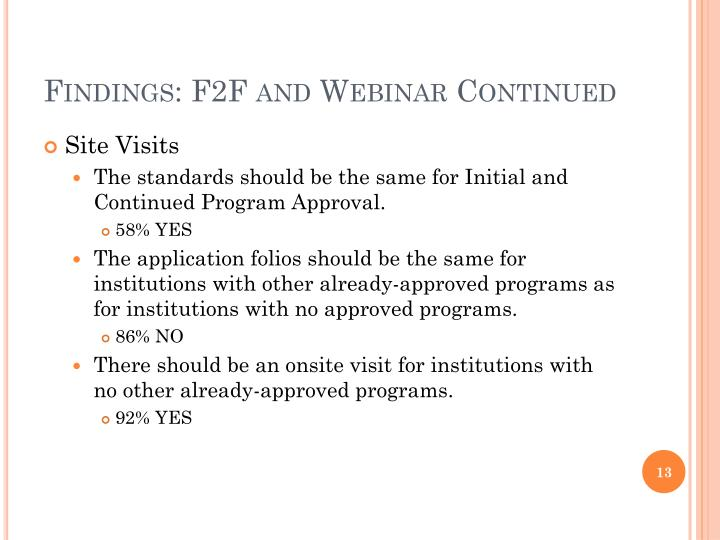 Findings: F2F and Webinar Continued
