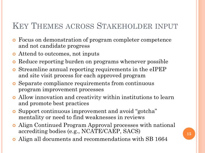 Key Themes across Stakeholder input