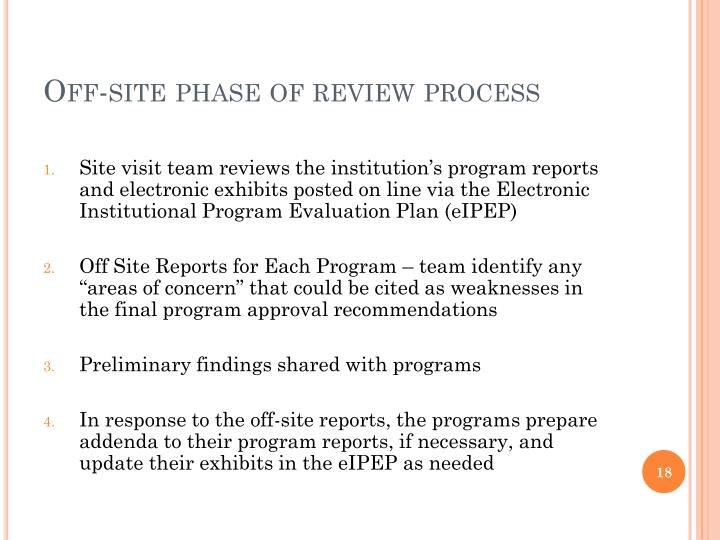 Off-site phase of review process