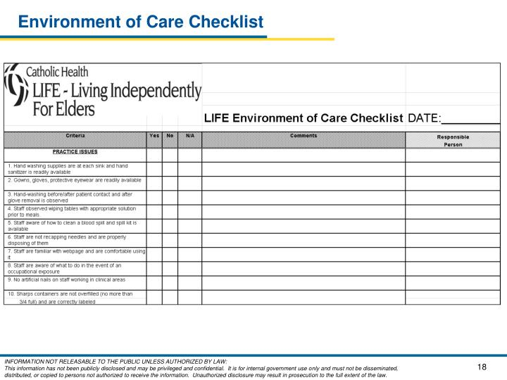 Environment of Care Checklist