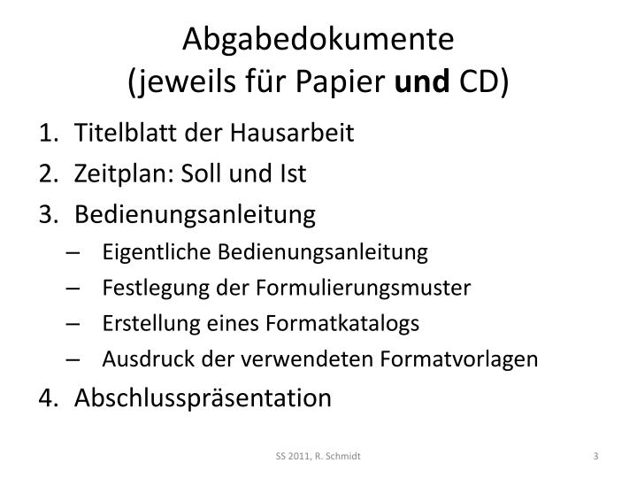Abgabedokumente