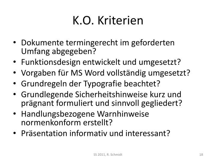 K.O. Kriterien