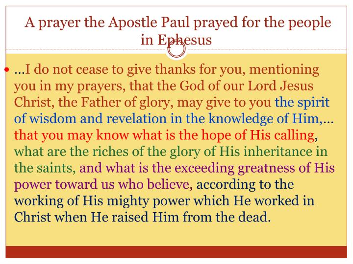 A prayer the Apostle Paul prayed for the people in Ephesus